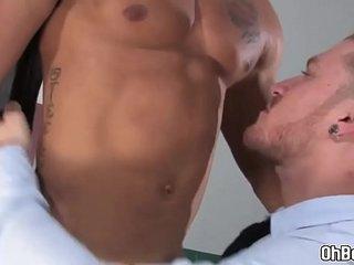 Businessman suck painters big thick dick deep throat