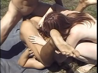 Bisexual fuck session with a lusty babe and two hard cock studs fucking each other