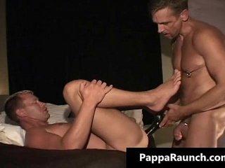 Nasty gay dude gets a huge dildo up this gay porno