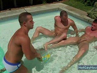 A pool blowjob gay party