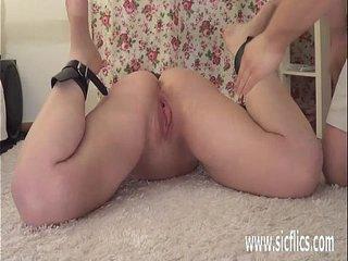Teen slave fist fucked in bondage