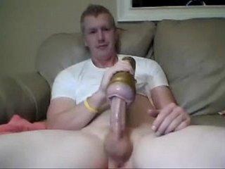 hot boy fucks his fleshlight finger ass and cums on cam