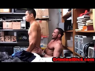 Asian Twink Criminal fucked bareback by a muscle daddy cop