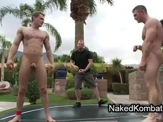 Gays ass licking in outdoor hot tub after wrestling