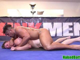 Wrestling hunk licks latino armpits before bj