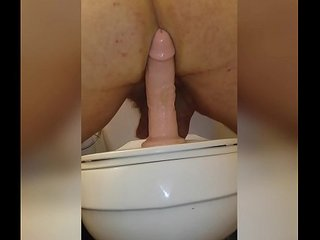 "Fucking ass riding big 9"" king cock dildo"
