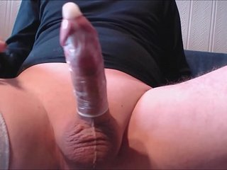 My solo 161 (Spurting my hot jizz into a condom close up)